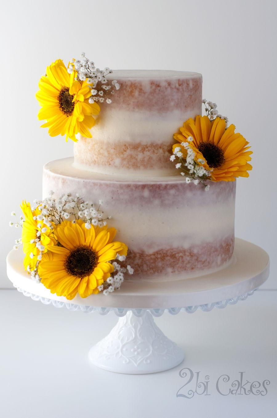 Sunflower Naked Cake - CakeCentral.com