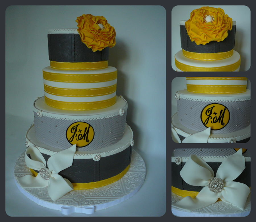 wedding cakes yellow and grey yellow gray wedding cake cakecentral 26162