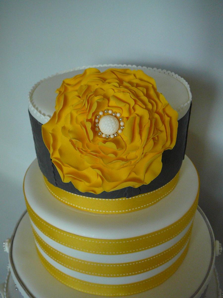 Yellow/gray Wedding Cake - CakeCentral.com