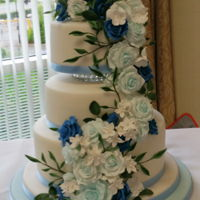 3 Tier Wedding Cake The theme for the wedding was pale blue and navy blue , and this cake matched beautifully with that.Bottom Tier is vanilla sponge with...