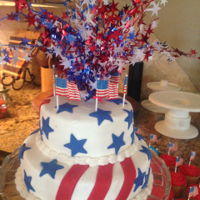 4Th Of July vanilla cake with buttercream frosting