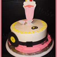 50's Malt Shop Poodle Skirt Birthday Iced in buttercream with fondant decorations.