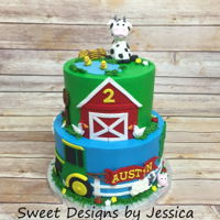 Austyn's 2Nd   Farm themed 2nd birthday cake