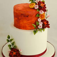 Autumn Wedding Cake All flowers are handmade. the top tier is buttercream.