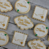 Baptism Sugar Cookies   Gold details were painted on using Metallic Light Gold Food Paint by Rainbow Dust.