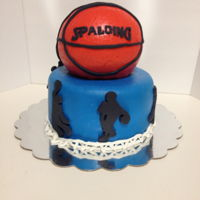 Basketball Birthday Cake   Blue lower tier with shadow players and basketball netting boder, top tier is orange basketball