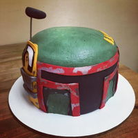 Boba Fett Starwars character in buttercream and fondant accents