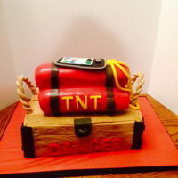 Bomb Cake This cake is DYN-O-MITE! Made for a retirement party for a bomb squad deputy. The TNT was made with jelly rolls covered in fondant.
