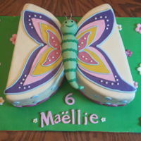"Butterfly 9"" chocolate cake filled with raspberry smbc. My niece asked for a butterfly cake for her 6th birthday"