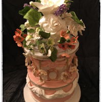 Carousel Cake #2 This is the 2nd Carousel Cake with a bouquet of gumpaste flowers as a a Topper...