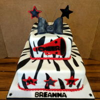 Cheerleader Birthday Cake   Zebra and red cheerleader birthday cake...
