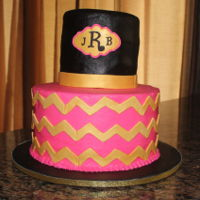 Chevron Birthday  Hot pink, black and gold chevron birthday cake. Top layer was lemon with raspberry filling and lemon buttercream icing; bottom layer was...