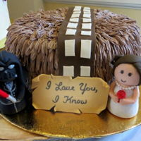 Chewbaca Star Wars Cake This is a cake I made from a picture given to me by the bride (also my cousin)It's a grooms cake, Darth vader and bride figures are...