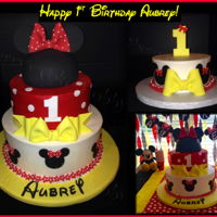 Disney Minnie Mouse 1St Birthday With Smash Cake Iced in buttercream - Minnie's head is fondant covered cake - with all fondant decorations and a matching smash cake. Customer's...