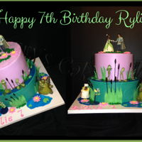 Disney Princess And The Frog Birthday Iced in buttercream with all fondant decorations and licensed Disney figurines. Colored mirror glaze for the water and spaghetti painted...