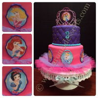 Disney Princesses Cake Vanilla cake with dulce de lecke filling, covered and decorated with fondant.