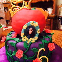 "Fairy Tale Birthday Cake Based on the television show ""Descendants."" For a little girl's sixth birthday. All handmade fondant details."