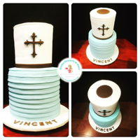 First Communion Cake Vanilla Cake with Nutella filling, covered with fondant.