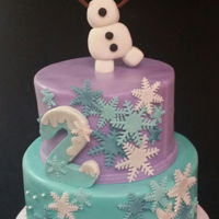 Frozen 2Nd Birthday Fondant Olaf cake topper with fondant decor.