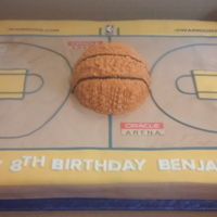 Golden State Warrior Full Court Themed Birthday Cake With Basketball  Full Sheet Golden State Warrior Full Court themed Birthday Cake with Basketball : 1/2 Strawberry and 1/2 Lemon Cake in buttercream and...