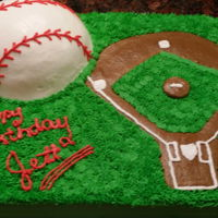 Grandson's Birthday Cake white cake with buttercream frosting