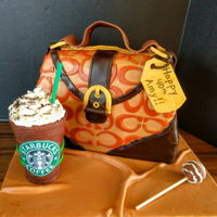 Happy 40Th Birthday!!!  Coach purse cake with Starbucks drink and cake pop. The drink is a chocolate cup filled with M&M's with buttercream icing for the...