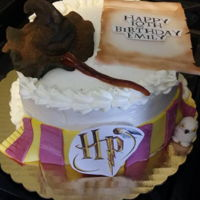 Harry Potter Triple chocolate chip cake, whipped cream icing. The cake decorations are made of gum paste.