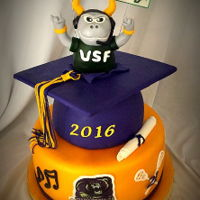Hs Graduation/usf Cake  The HS grad is going to USF. Cake is covered in fondant. The top of the grad cap is a board covered with fondant. The tassel is fondant/...