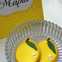 Lemon Cookies Fresh butter cookies covered with Royal icing and lemon flavor.