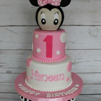 "Minnie Mouse Birthday Cake   Minnie Mouse birthday cake! Top tier is a 4"" cake and the bottom tier is a 6"" cake."