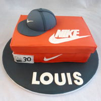 Nike Shoe Box Cake Nike shoe box cake and cap for a 30th birthday