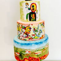 Painted Art Cake  3 tiered hand painted cake with some pressure piping. Inspired by and/or based on 3 beautiful glass paintings by the amazing Massimo...