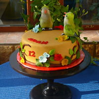 Parrots The cake with chocolate cream and milk marzipan.