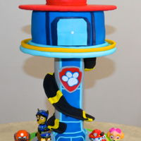 Paw Patrol Lookout Cake Vanilla Cake, Rice Krispy with Fondant Accents