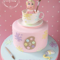 Pottery Painting Party Cake Made in soft colours for a little girl :-)