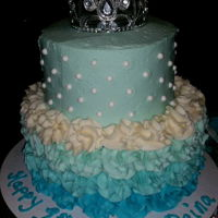 Princess Ombre Cake. cinderella theme party. A small stacked blue ombre cake.