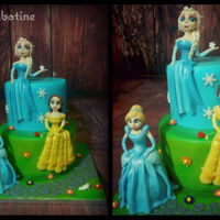 Princess Party Belle. Elsa. Cinderella :) Handmade with gumpast and Rice Krispies Treats.