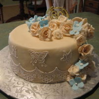 Rose And Hydrangea Birthday Cake White chocolate mud cake with roses and Hydrangeas for an 80th birthday