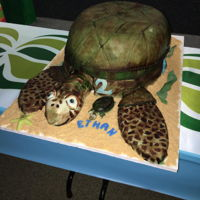 Sea Turtle Cake   The cake is the shell, belly is a dummy, head flippers etc. are all RKT covered in fondant. Hand Painted