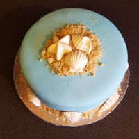 Seashell Cake Seashell cake for my birthday. Chocolate cake and buttercream, white candy melt seashells and crushed pecan sandies for sand.