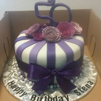 "Shades Of Purple Themed Birthday Cake  8"" Shades of Purple themed Birthday Cake: Marble (Yellow//Chocolate) Cake in buttercream and decorated with Purple Paper Flowers and..."