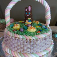 Simple Bunny Cake buttercream with marshmallow rope and chocolate bunny