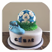 Soccer Ball And Tennis Shoe   European championship soccer ball and Messi Adidas shoe birthday cake