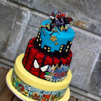 Spiderman buttercream cake with Fondant Accents and edible images