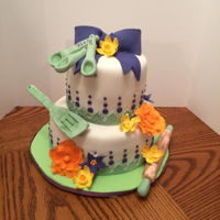 "Stock The Kitchen Bridal Shower Cake This cake was made for a ""Stock the Kitchen"" themed bridal shower. The wedding colors were plum and sage with flowers in a fall..."