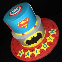 Super Hero Baby Shower Iced in buttercream with all fondant decorations. Captain America, Superman, Batman, Spiderman.