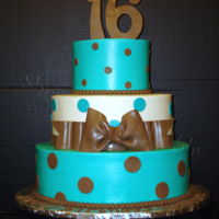 Sweet 16 Birthday Iced in smooth buttercream with all fondant decorations.
