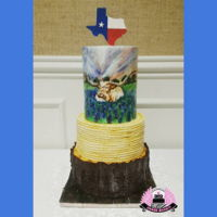 Truly Texas Groom's Cake Hand-painted Longhorn in bluebonnets & all edible!