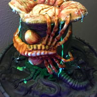 Ultimate Creepy Halloween Facehugger Alien Cake sculpted alien facehugger cake with edible glow in the dark slime. ally hand made and about 15 hours of work involved. www.thelondonbaker....
