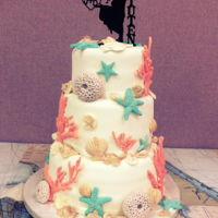 Under The Sea Wedding Cake A cake for a beach themed wedding. All handmade shells and decorations.
